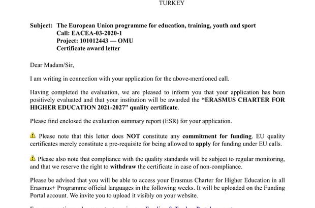 OMÜ'ye tam puanla Erasmus Beyannamesi kalite sertifikası