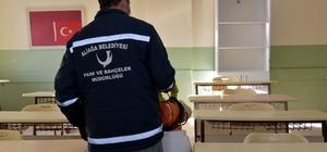 Aliağa'daki okullar dezenfekte ediliyor