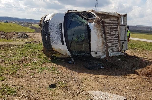 Malkara'da kamyonet takla attı: 1 yaralı