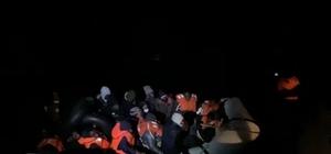 Sürüklenen lastik bottaki 34 düzensiz göçmen kurtarıldı Düzensiz göçmenlerin imdadına Sahil Güvenlik yetişti