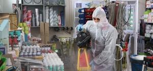 Yahşihan'da iş yerleri dezenfekte edildi