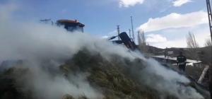 Erzurum'da ot yangını Rüzgarın da etkisiyle büyüyen yangında 300 balya ot kül oldu