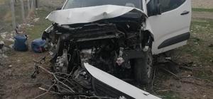 Kontrolden çıkan hafif ticari araç ağaca çarptı:1 yaralı