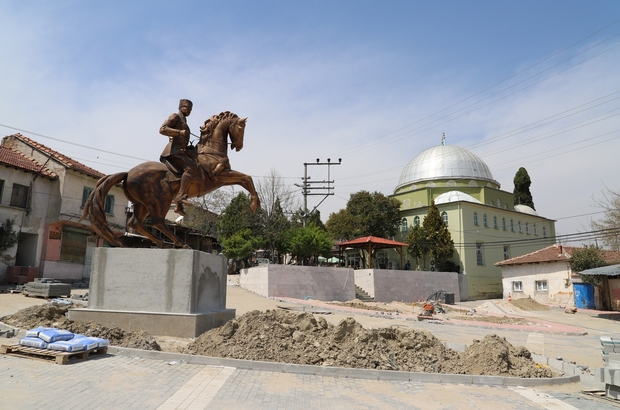 Saruhanlı Belediyesi Gökçeköy'ün çehresini değiştiriyor Saruhanlı'nın en büyük Atatürk heykeli Gökçeköy Mahallesine yapıldı