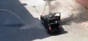 Şanlıurfa'da alev alev yanan otomobil kamerada