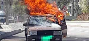 Tokat'ta otomobil alev topuna döndü