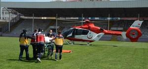 Ambulans helikopter, iş kazasında yaralanan işçi için havalandı