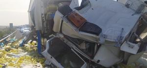 İki tırın karıştığı kazada araçta sıkışan sürücü hayatını kaybetti