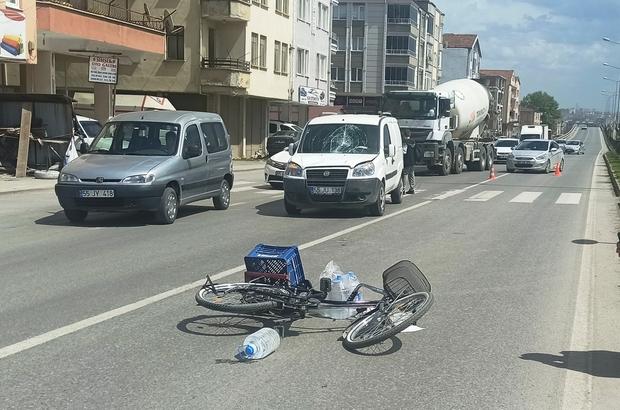 Hafif ticari aracın çarptığı bisiklet sürücüsü yaralandı