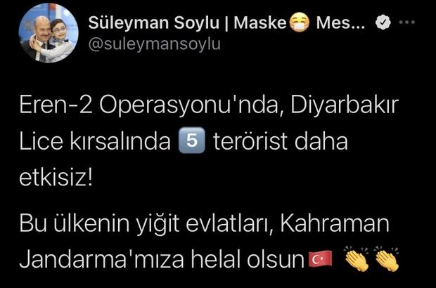 Bakan Soylu açıkladı, Lice kırsalında 5 terörist etkisiz hale getirildi