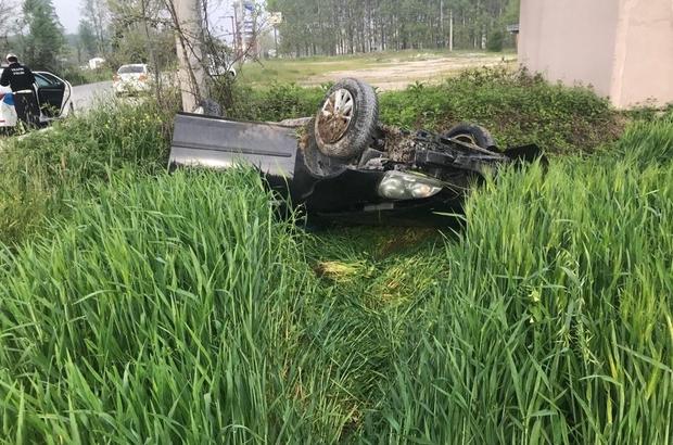 İş yerine çalışmaya giderken dehşeti yaşadı Kontrolden çıkan araç takla atarak yol kenarına uçtu: 1 yaralı