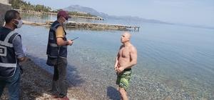 """Denize girdi, """"İşsizim, ceza kesmeyin"""" dedi Polis vatandaşı uyardı: """"Ben marketten geliyorum, bir yüzüp geleyim olmaz"""""""