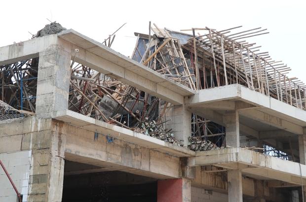Otel inşaatında çökme Olay esnasında işçilerin inşaatta bulunmaması faciayı önledi