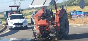 Kazada ikiye ayrılan traktörden yaralı kurtuldu