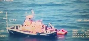 Göçmenler Yunanistan unsurlarınca böyle Türk kara sularına bırakıldı Ölüme terk edilen göçmenleri Sahil Güvenlik Botları tarafından kurtarıldı