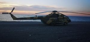 Giresun'a acil iniş yapan helikopter