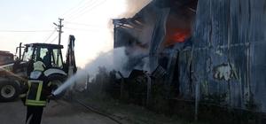 Çiftliğin saman deposunda korkutan yangın