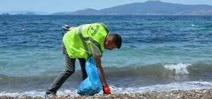Aliağa sahillerinde yaz temizliği Aliağa Belediyesi ekipleri Köstem Koy'da