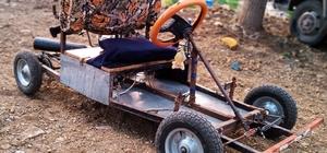 """Dağ köyünde """"go kart"""" aracı yaptı 18 yaşındaki Burhan Şahan: """"İmkan verilirse daha iyisini yaparım"""""""