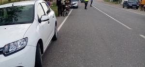 Kaza yapan motosikletliye trafik polisinden teşekkür