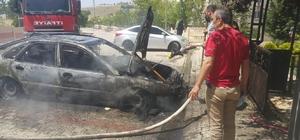 Elazığ'da alevlere teslim olan otomobil küle döndü