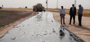 Akçakale kırsalında ilk asfalt çalışması başladı
