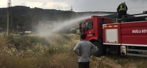 Menteşe'de yıldırım yangını Menteşe ilçesinde öğle saatlerinde başlayan sağanak yağış sonrası yüksek gerilim hattına yıldırım düşmesi sonrası ot yangını çıktı.