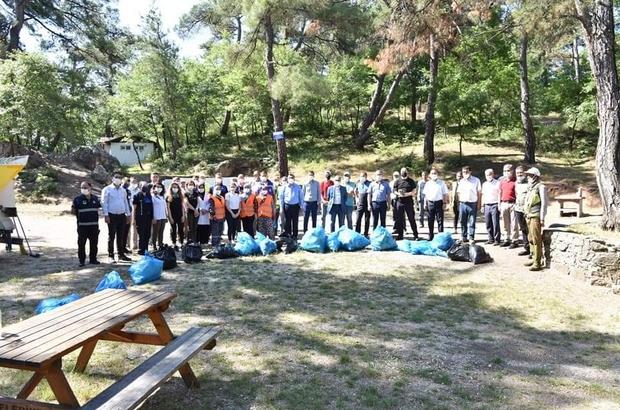 Çan'da belediye ekipleri mesire alanını temizledi