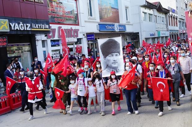 """95 kilometrelik Atatürk ve İstiklal Yolu yürüyüşü son buldu Bakan Yardımcısı Baydaş: """"Yürüyüşün Ankara'ya kadar uzadığını birlikte göreceğiz"""""""