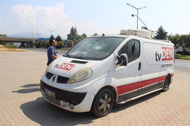 Yerel televizyonun yayın aracına saldırı