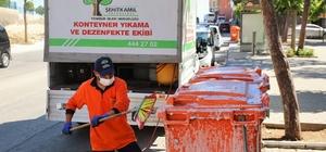 Şehitkamil'de temizlik ve hijyen seferberliği sürüyor Cadde ve sokaklar süpürüldü, çöp konteynırlar dezenfekte edildi