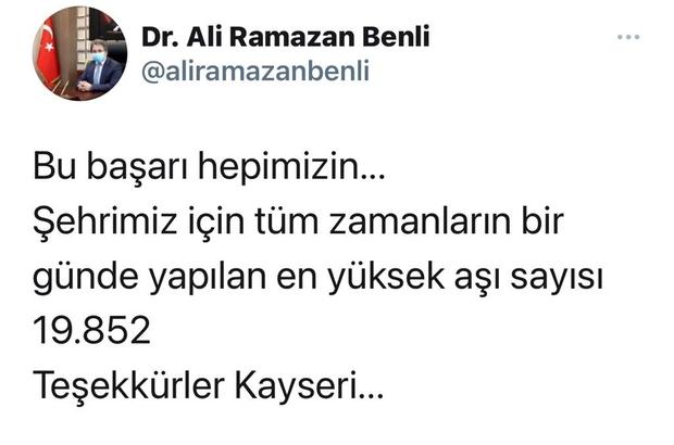 Kayseri'de bir günde 19 bin 852 korona virüs aşısı yapıldı