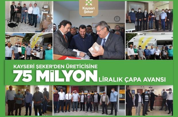 Kayseri Şeker'den çiftçisine büyük destek Kayseri Şeker üreticisine 75 milyon TL'lik çapa avansı ödüyor