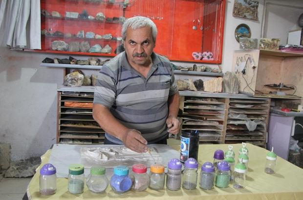 Taş tozları sanat eserine dönüşüyor Tablolar rengini doğal taşlardan alıyor