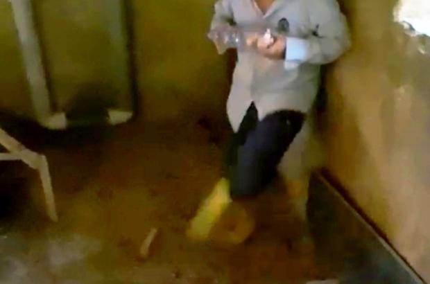 Yumurtaları toplamak isterken horozun saldırısına uğradı