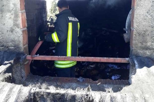 Odunlukta çıkan yangın maddi hasara neden oldu
