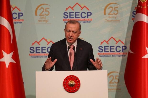 """Güneydoğu Avrupa İşbirliği Süreci Devlet ve Hükümet Başkanları Zirvesi Cumhurbaşkanı Recep Tayyip Erdoğan: """" Güneydoğu Avrupa 2030 Strateji Belgesi'nin sürdürülebilir ekonomik büyüme hedefimize ulaşmamıza yardımcı olacağına inanıyorum"""" """"Biz bölgedeki siyasi  sorunlar için, diyalogdan başka bir çözüm yolu bulunmadığına inanıyoruz"""" """" Bu anlamda GDAÜ İşbirliği Sürecinin sunduğu fırsatlardan istifade edilmesini destekliyoruz"""" """"Türkiye'nin Avrupa Birliği'ne katılım sürecinin canlandırılması ve Güney Doğu Avrupa'daki tüm aday ve potansiyel adayların üyelik süreçlerinin hızlandırılması, birliğe küresel ölçekte fayda sağlayacaktır"""" """" Temennimiz, muhataplarımızın da bu gerçeği görerek hareket etmesidir"""""""