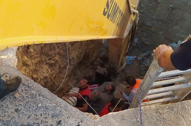 Hastane kanalizasyon hattında göçük: 3 işçi toprak altında kaldı Toprak altına kalan işçiler yaralı kurtarıldı