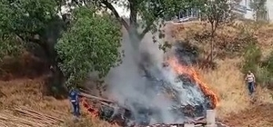 Örtü yangınına ilk müdahaleyi vatandaşlar yaptı