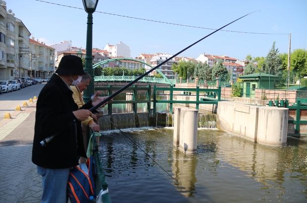 Yasaksız cumartesinin tadını balık tutarak çıkardılar Porsuk Çayı'nda hafta sonu balık keyfi