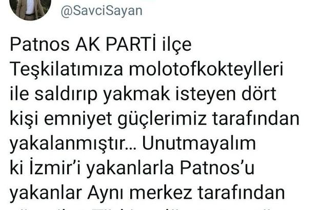 Patnos'ta AK Parti'ye molotoflu saldırı düzenlemek isteyen 4 kişi gözaltına alındı