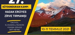 27. Sütdonduran Kampı ve HADAK Zirve Tırmanışı 10 Temmuz'da yapılacak
