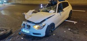 Kamyona arkadan çarpan otomobil parçalandı, sürücünün burnu bile kanamadı