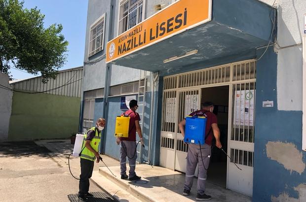 Nazilli'de YKS öncesi okullar dezenfekte edildi