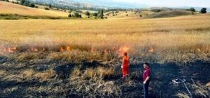 Hisarcık'ta yüksek gerilim hattı koptu, hububat tarlası alev alev yandı