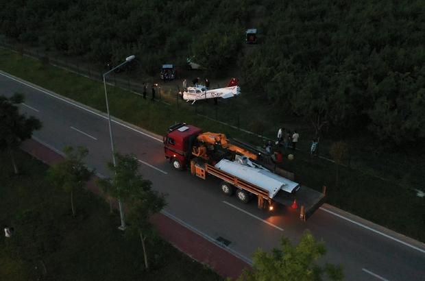 Bursa'da meyve bahçesine mecburi iniş yapan uçağın enkazı kaldırıldı