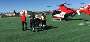 Konya'da beyin kanaması geçiren kadına hava ambulansı