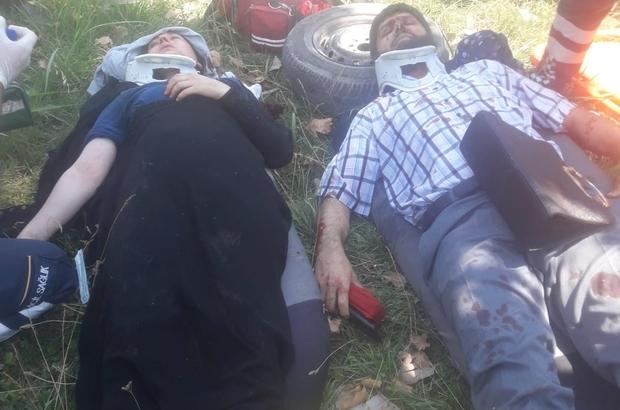 Bursa'da meydana gelen kazada otomobil ikiye bölündü