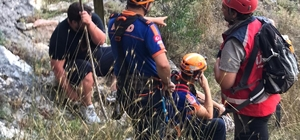 Gezmek için geldiği kanyonda ecel terleri döktü Harmankaya Kanyonu Tabiat Parkı'nda bir kaya üzerinde mahsur kalan şahıs halat yardımıyla kurtarıldı