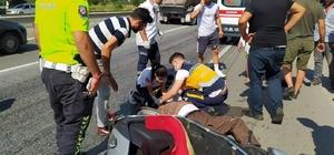 Motosikletinin hakimiyetini kaybeden sürücü yaralandı